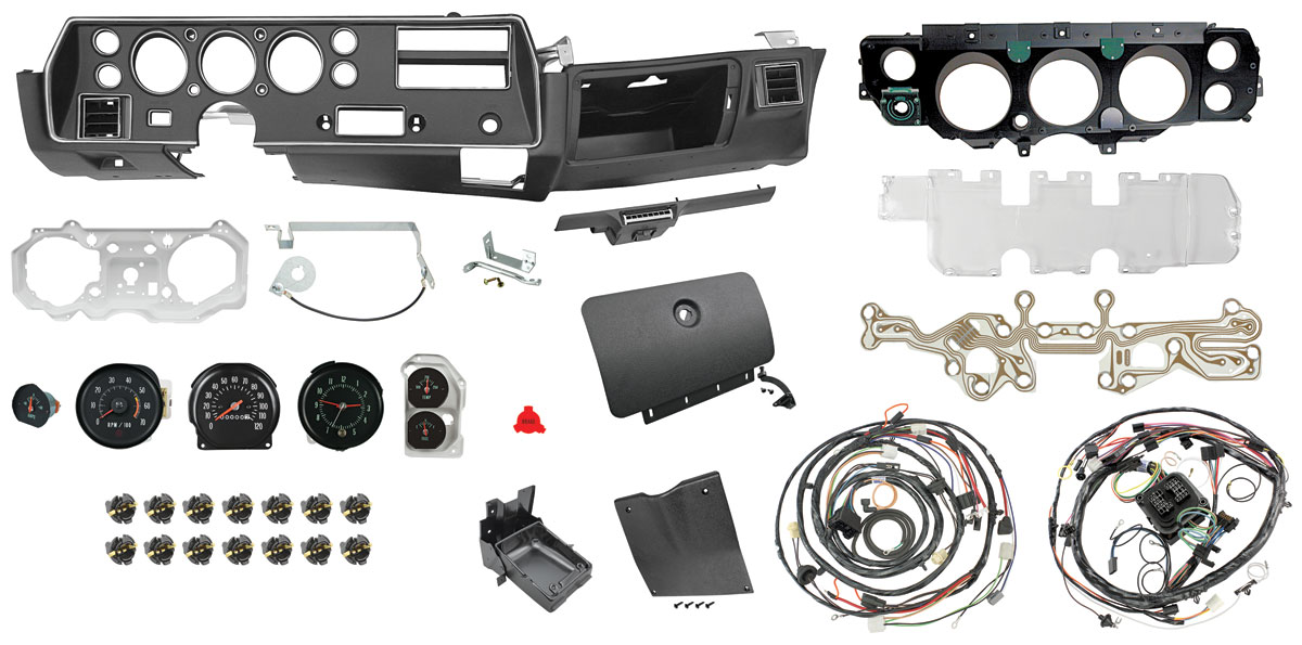 CH28266 lrg 1970 72 super sport dash & gauge conversion kit for chevelle, el