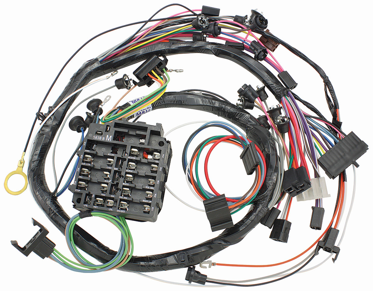 12935 lrg m&h 1969 el camino dash instrument panel harness w warning lights el camino wire harness at gsmx.co