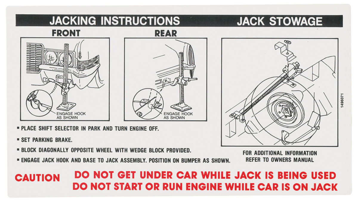 Jack Instructions Decals    exc. Eldorado (#1496071)