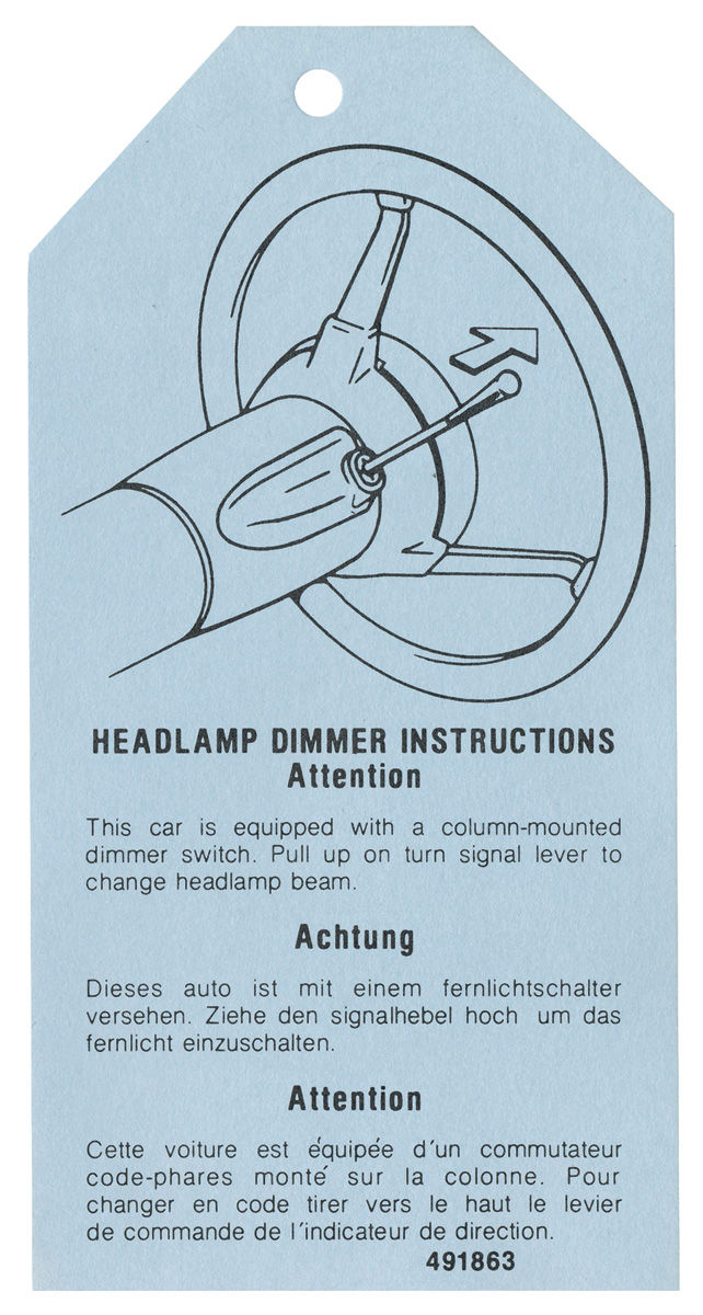 Chevelle Headlight Dimmer Instruction Tag 1976 77 491863 Opgi