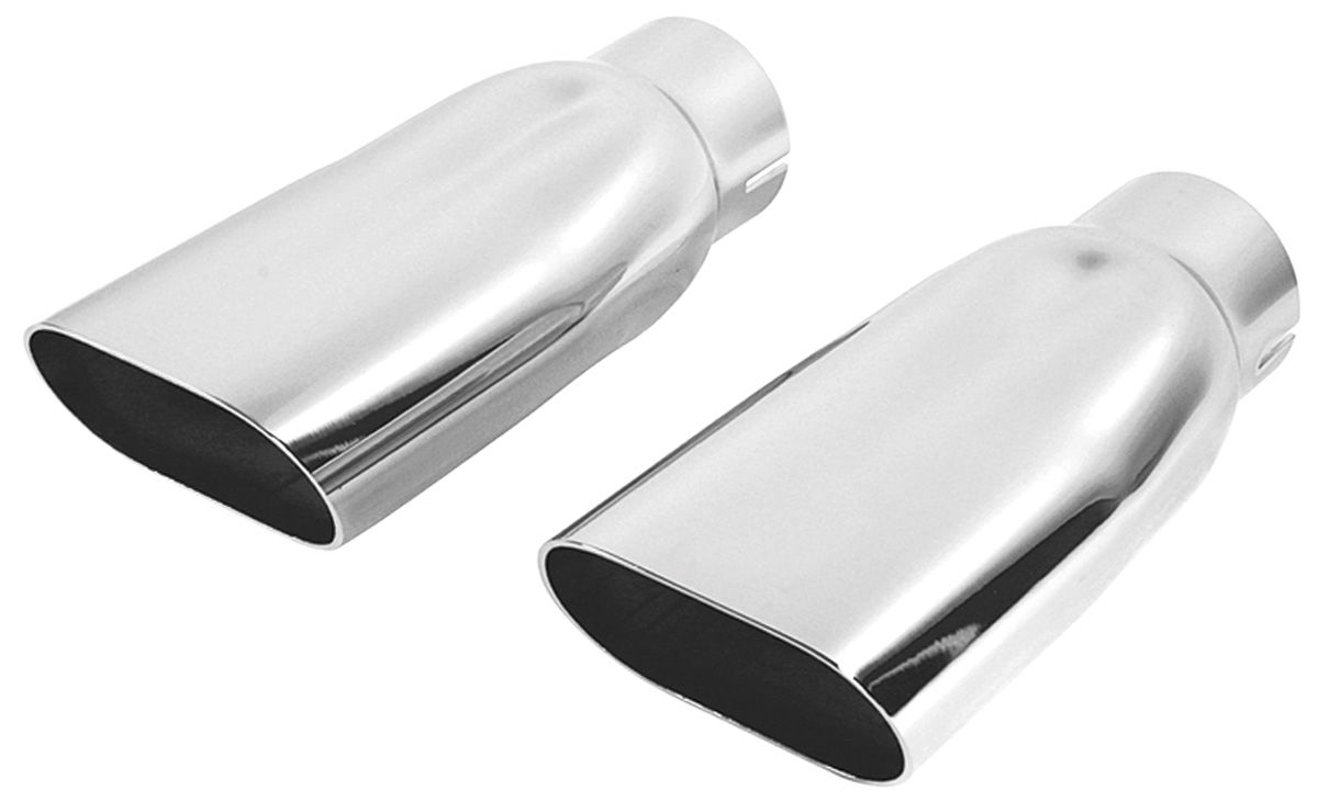 Restoparts Chevelle Exhaust Tips 1969 72 Oval Chrome 2 1