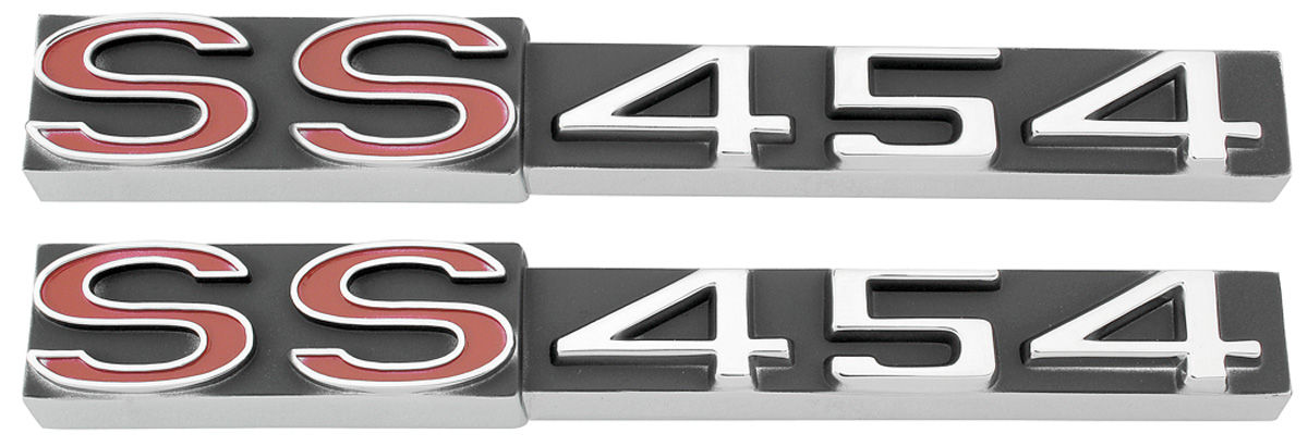 1970 1971 Chevy Monte Carlo Rocker Panel Emblem SS 454 Red Made in USA