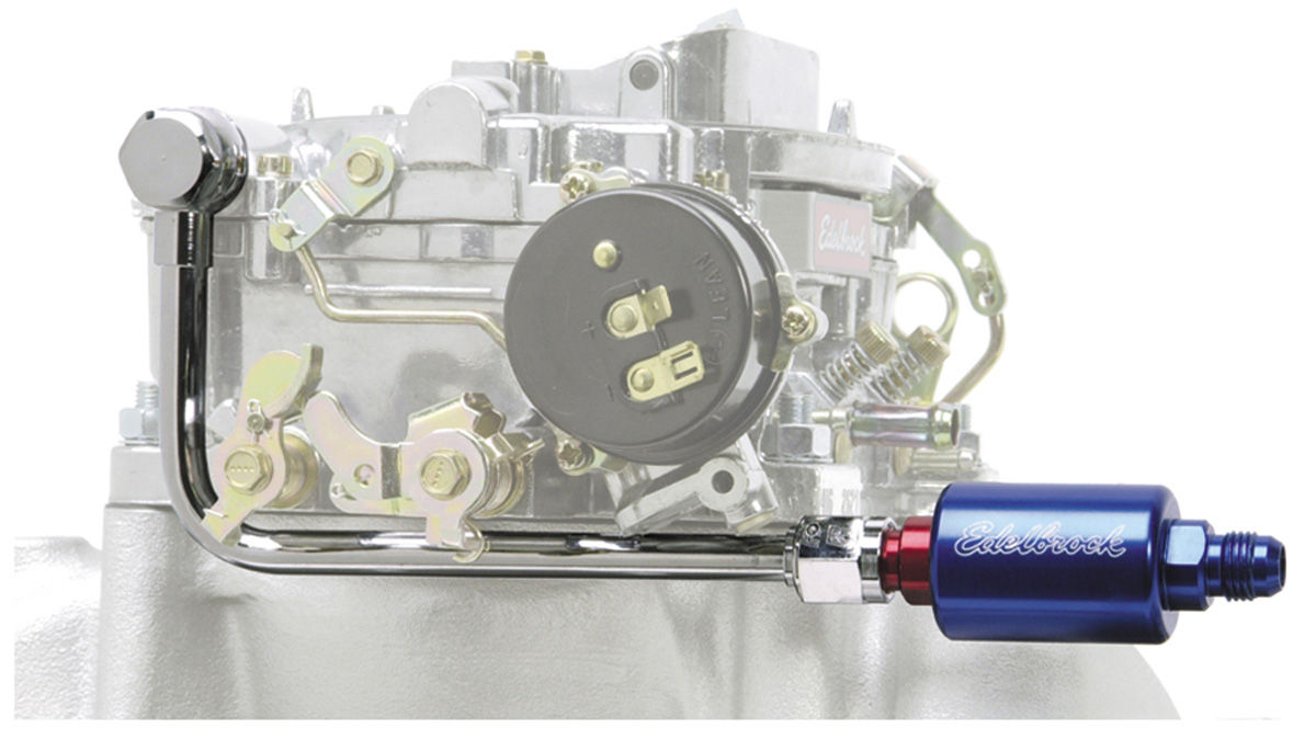 Edelbrock 1964 77 Chevelle Carburetor Fuel Line Filter Kit Russell Filters Performer Series Blue Red