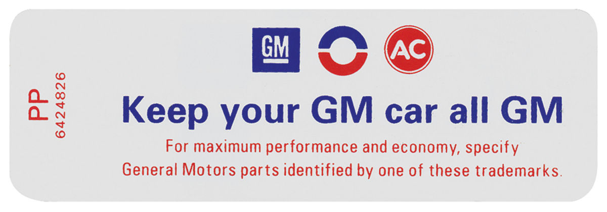 "Air Cleaner Decals, ""Keep Your GM Car All GM""    (PP, #6424826)"