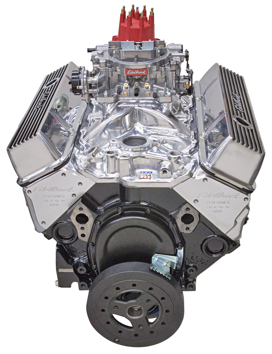 Crate Engine, Edelbrock Performer Performer Air-Gap Manifold & 650 Cfm  Thunder Series Avs Carburetor w/o water pump, polished