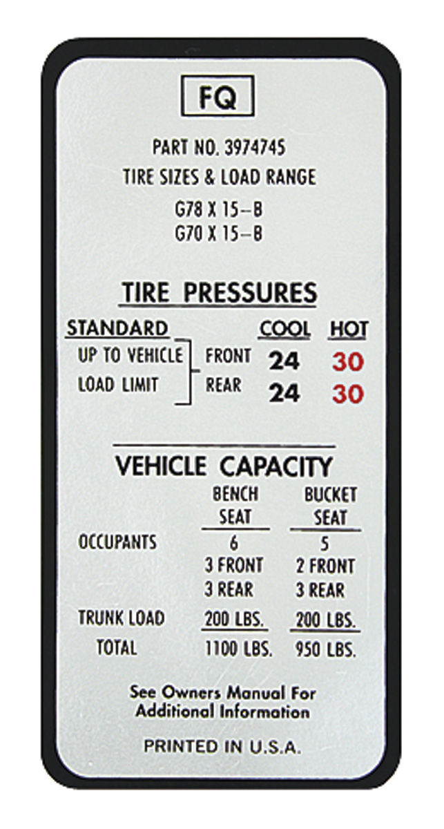 Monte Carlo Tire Pressure Decal Fq 3974745 Fits 1970