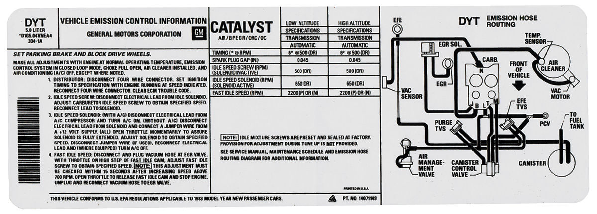1984 Emissions Decal Monte Carlo Emission Hose Routing
