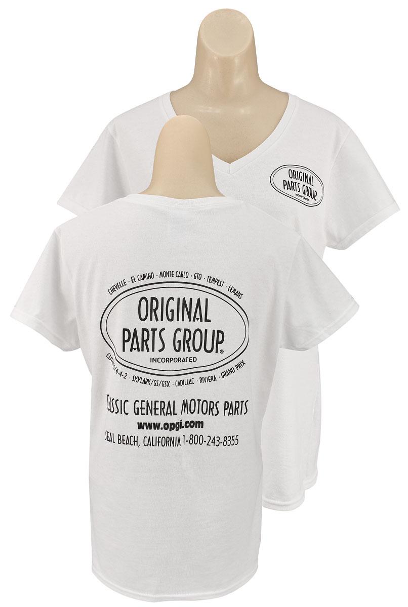 original parts group shirt women 39 s white v neck. Black Bedroom Furniture Sets. Home Design Ideas
