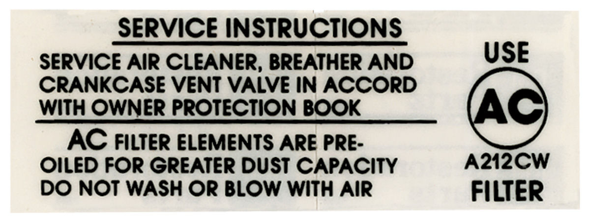 Decal, 1967-69 Chevelle/El Camino, Air Cleaner, Service Instructions, 396/375HP