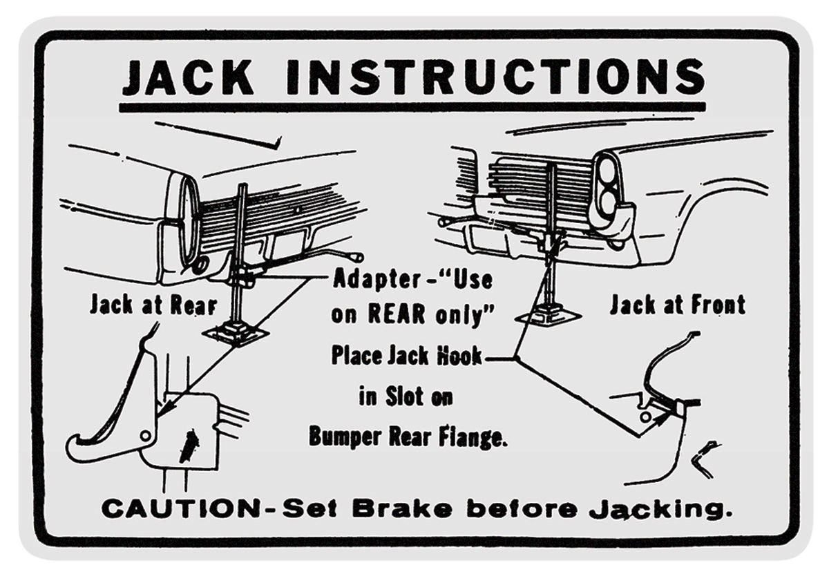 Decal, 64 Pontiac, Jacking Instructions