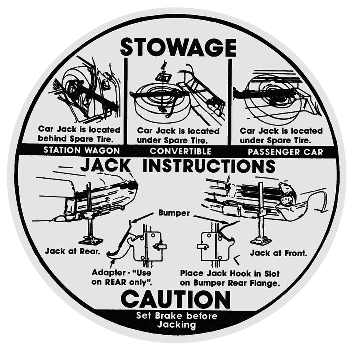 Decal, 65 Pontiac, Jacking Instructions