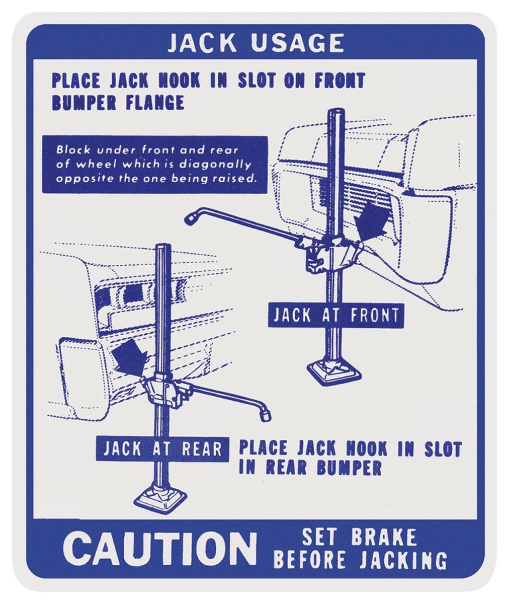 Decal, 67 Pontiac, Jacking Instructions