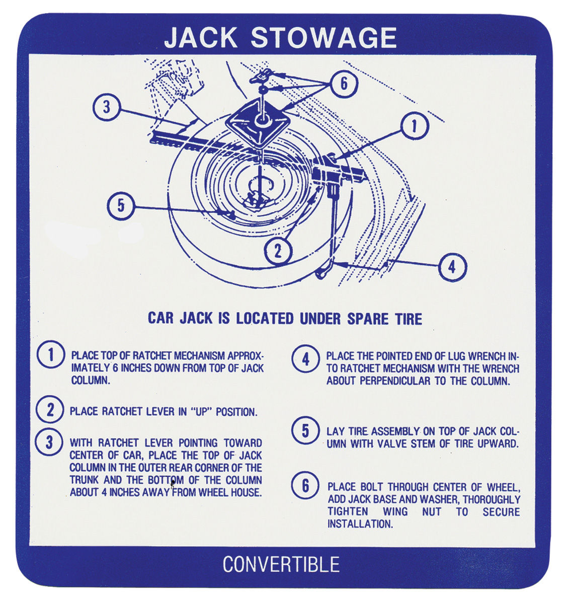 Decal, 67 Bonneville Catalina, Jack Storage, Convertible