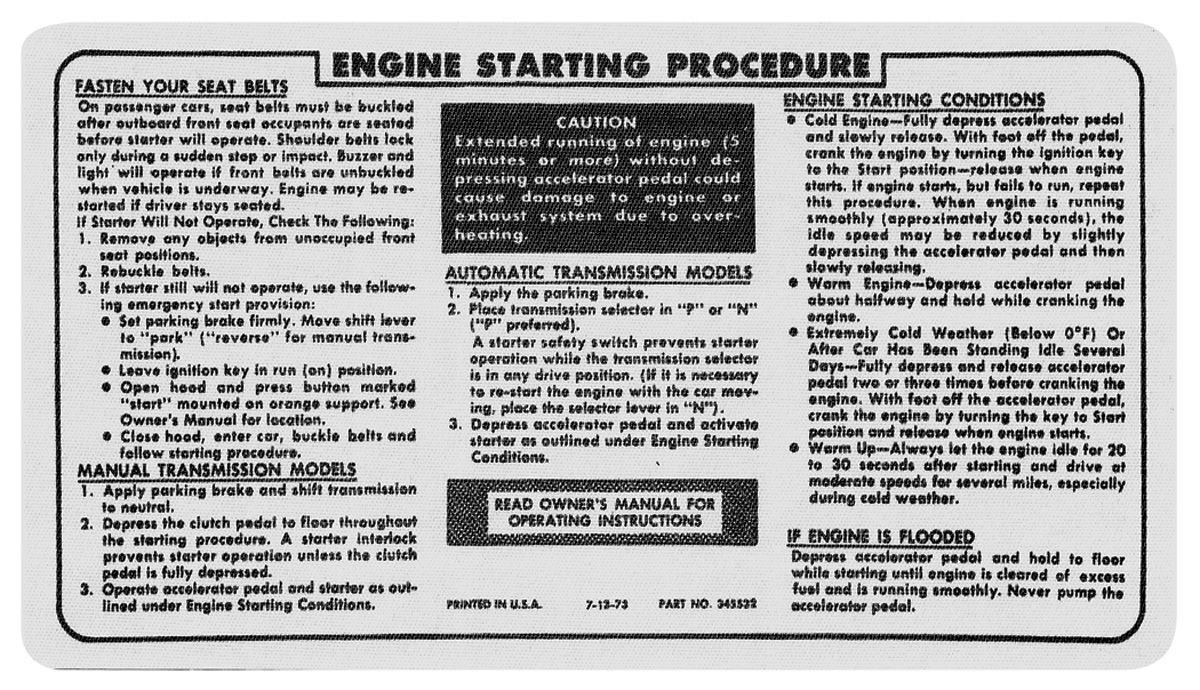 Decal, 74-76 Pontiac, Visor, Starting, Ignition Lock Instruction