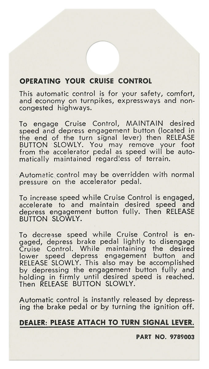 Tag, 75-77 Bonneville Catalina Grand Prix, Cruise Control Instruction