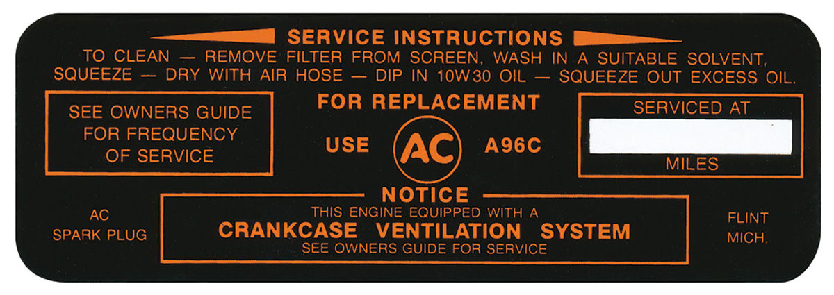 Decal, 63-64 Pontiac, Air Cleaner, Service Instructions, A96C