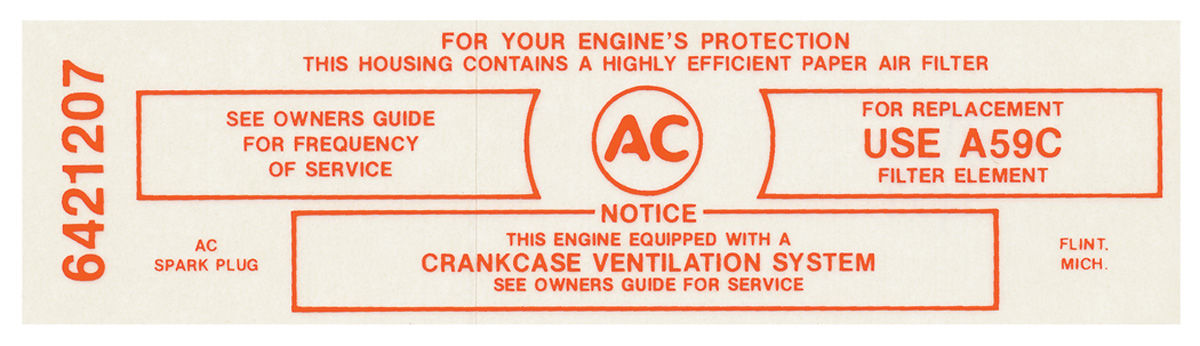 Decal, 65 Pontiac, Air Cleaner, Service Instructions, 421, 3x2, Ca., A59C, Red