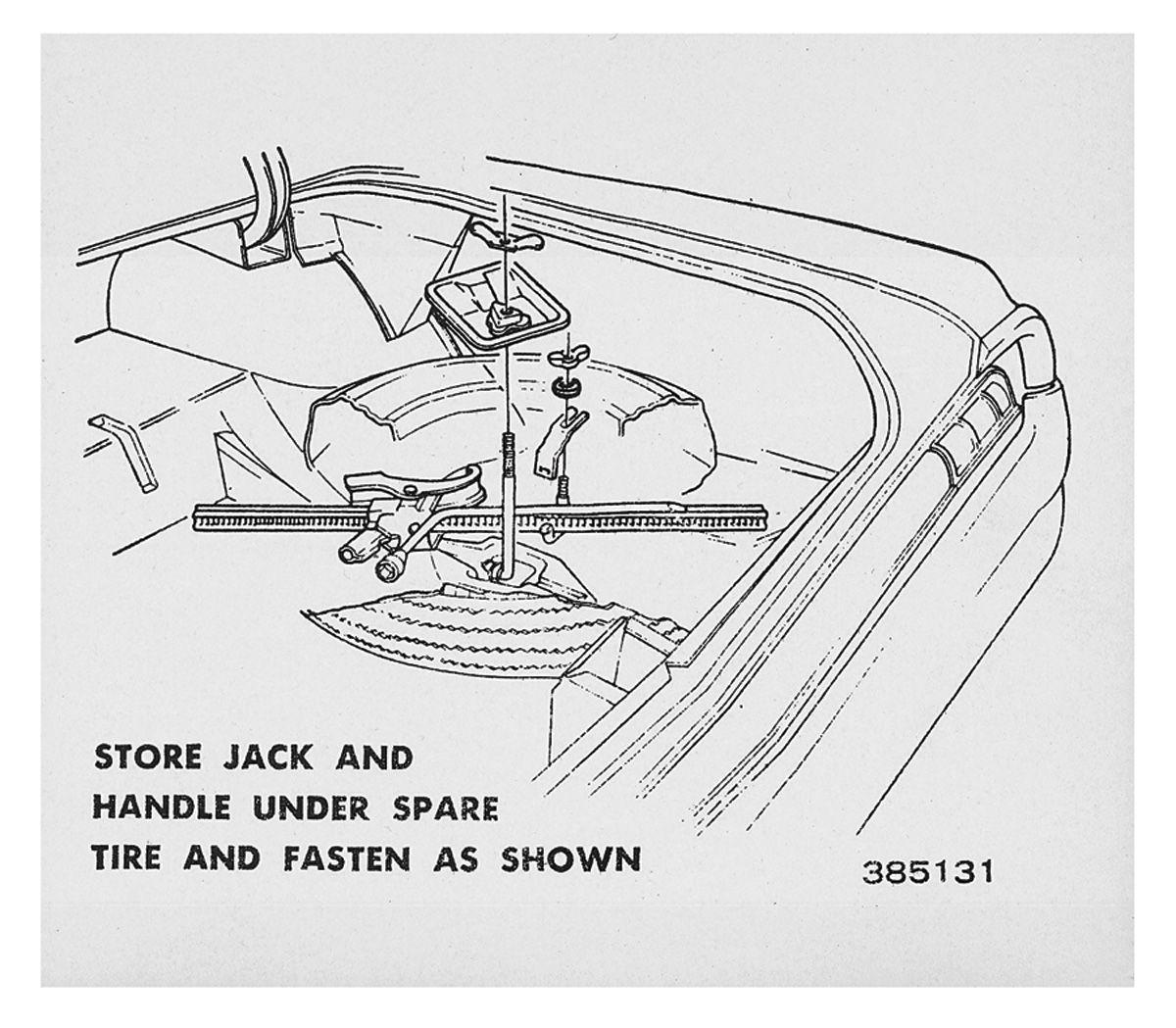 Decal, 64 Cutlass, Trunk, Tire Stowage
