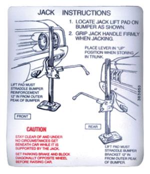 Decal, 65 Cutlass, Trunk, Jacking Instructions