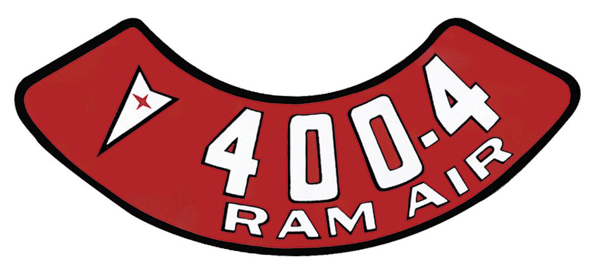 Decal, 59-76 Pontiac, Air Cleaner, Aftermarket, 400 4V, Ram Air