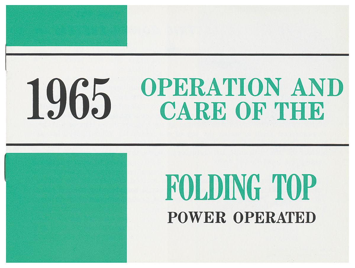 Manual, Convertible Top Operation, 1961 Bonneville/Catalina
