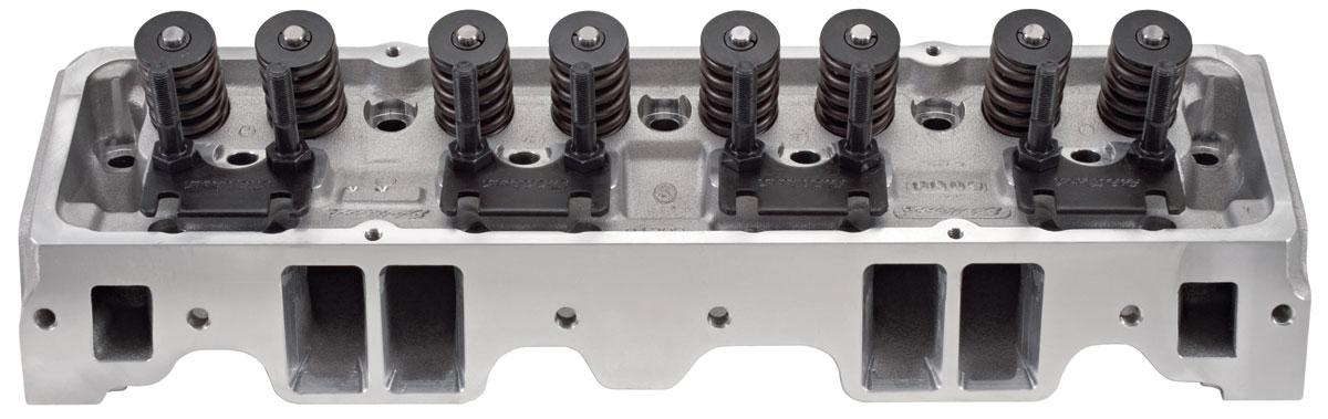 Cylinder Head, Edelbrock, E-Series, Aluminum, SB Chevy, 64CC, Straight Plugs