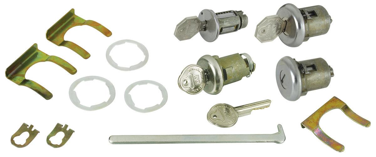Lock Set, Ignition/Doors/Trunk, 1963-65 Pontiac A-Body/1965 Chevelle, w/ Oct Key