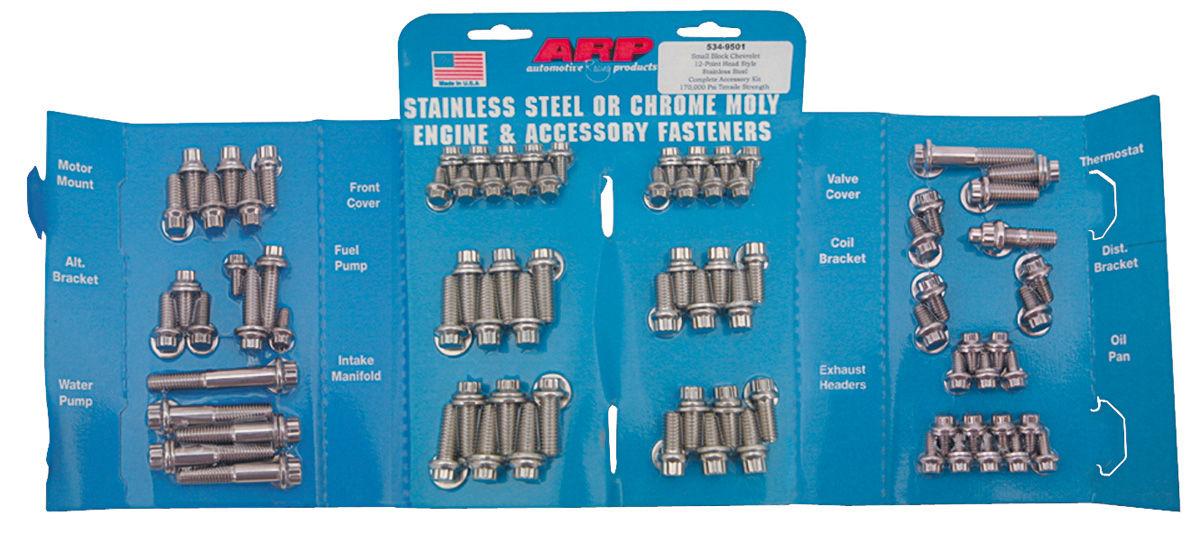 Fastener Kit, Engine, ARP, Pontiac V8, Stainless, 12 PT