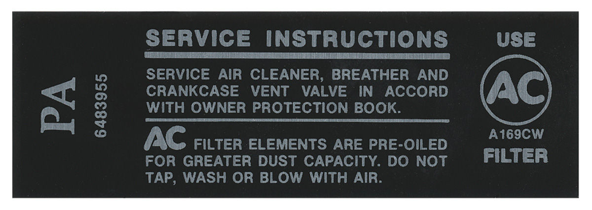 Decal, 68 Pontiac, Air Cleaner, Service Instruction, 250