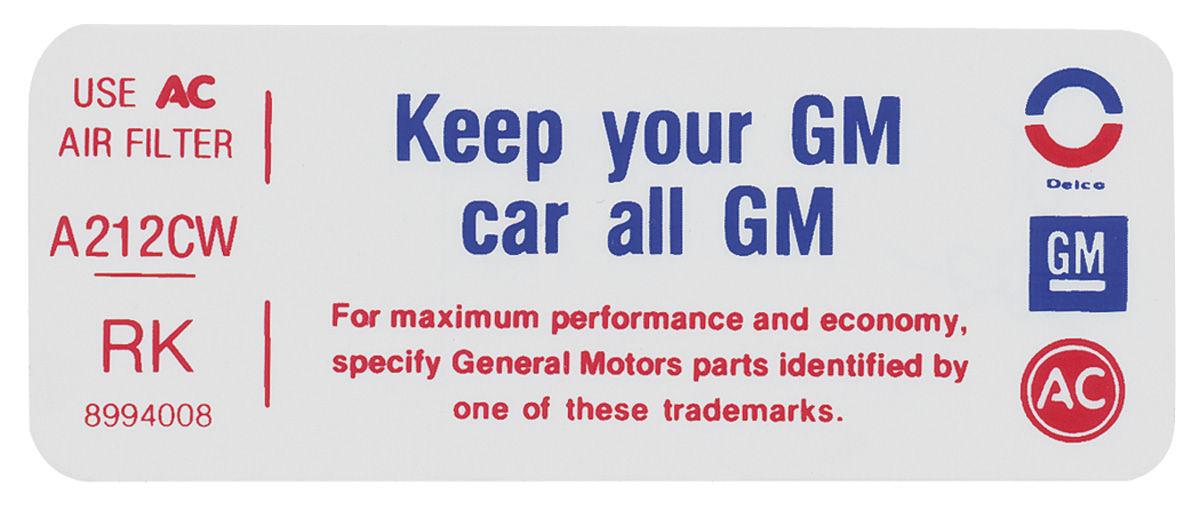 Decal, 75 Pontiac, Keep Your GM Car All GM, 455, 8994008, RK