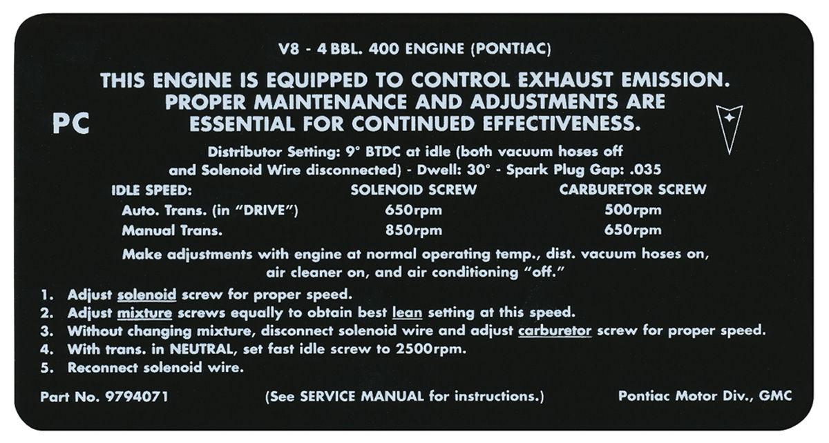 Decal, 68 Pontiac, Emissions, 400 4V, PC