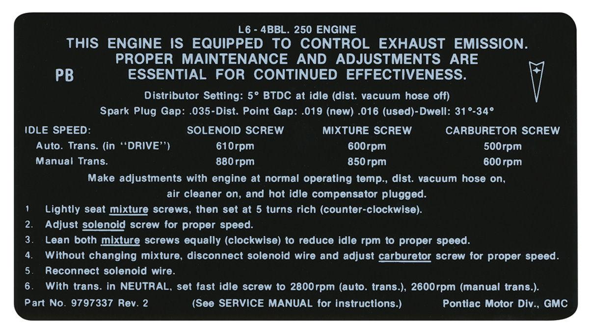 Decal, 69 Pontiac, Emissions, 250-4V, PB