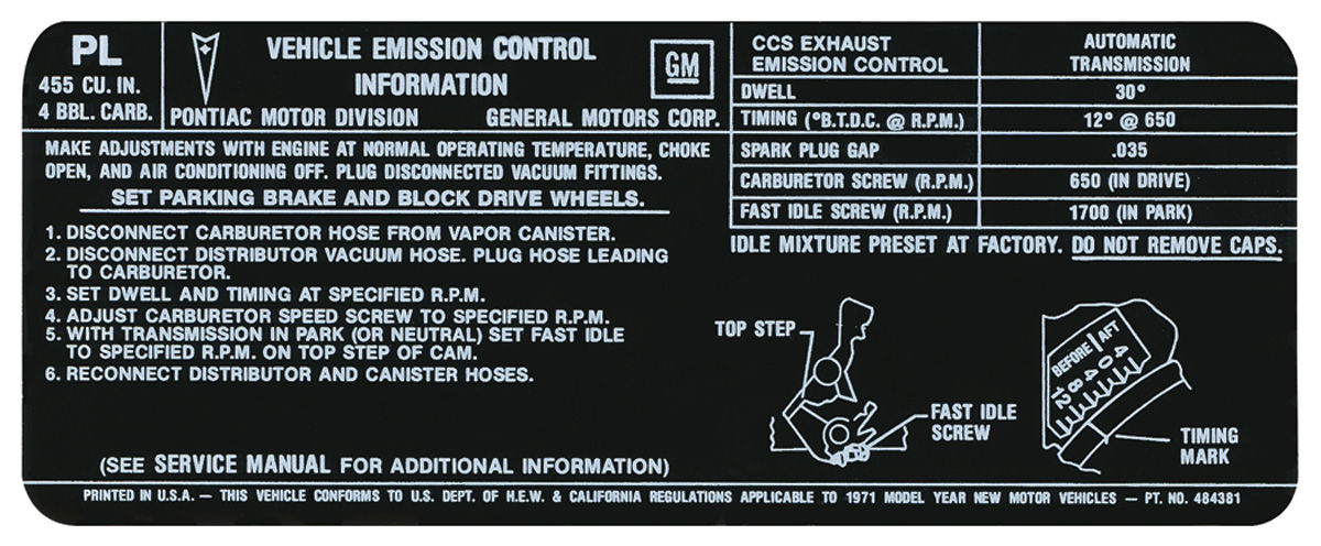 Decal, 71 Pontiac, Emissions, 455-4V, AT, US/CAL, PL