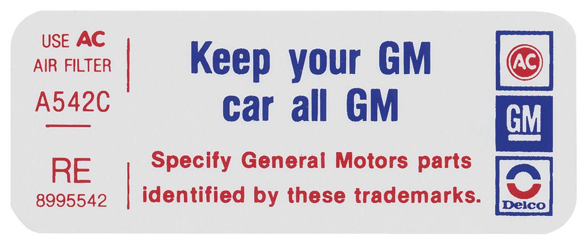 Decal, 77 Pontiac, 2V, Keep Your GM Car All GM, 8995542, RE
