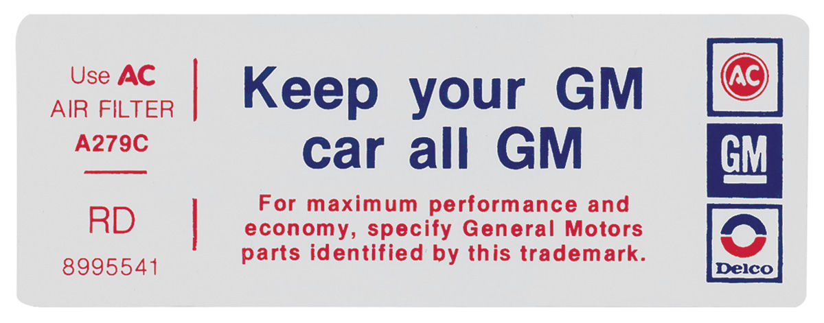 Decal, 77 Pontiac, 4V, Keep Your GM Car All GM, 8995541, RD