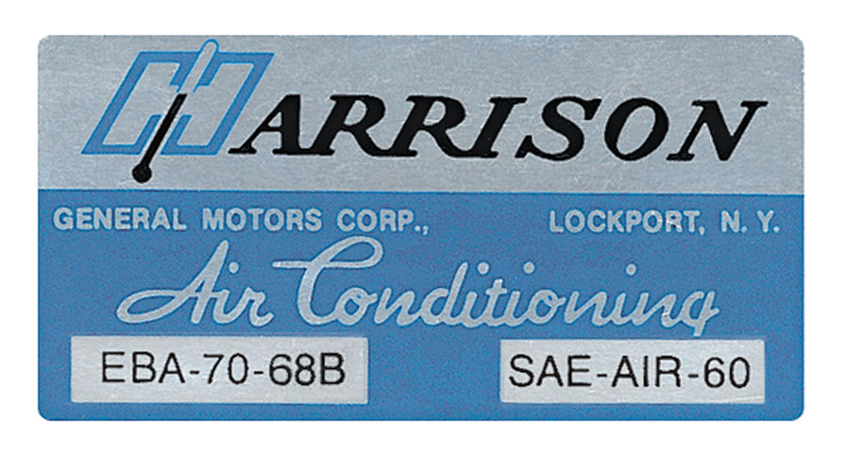 Decal, 68 GM A Body, Evaporator Box, Harrison Air Conditioning