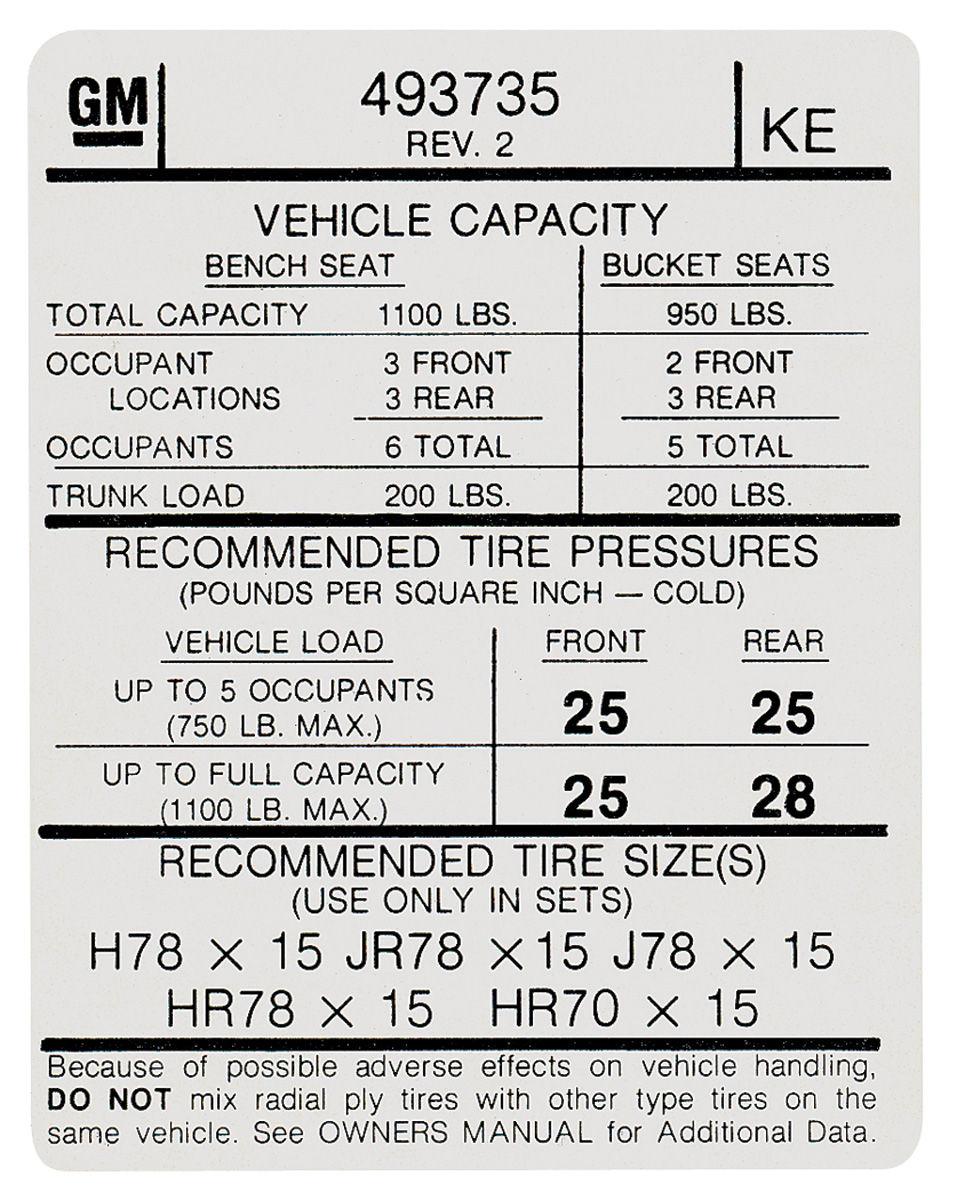 Decal, 74 Pontiac, Tire Pressure, KE, 493735