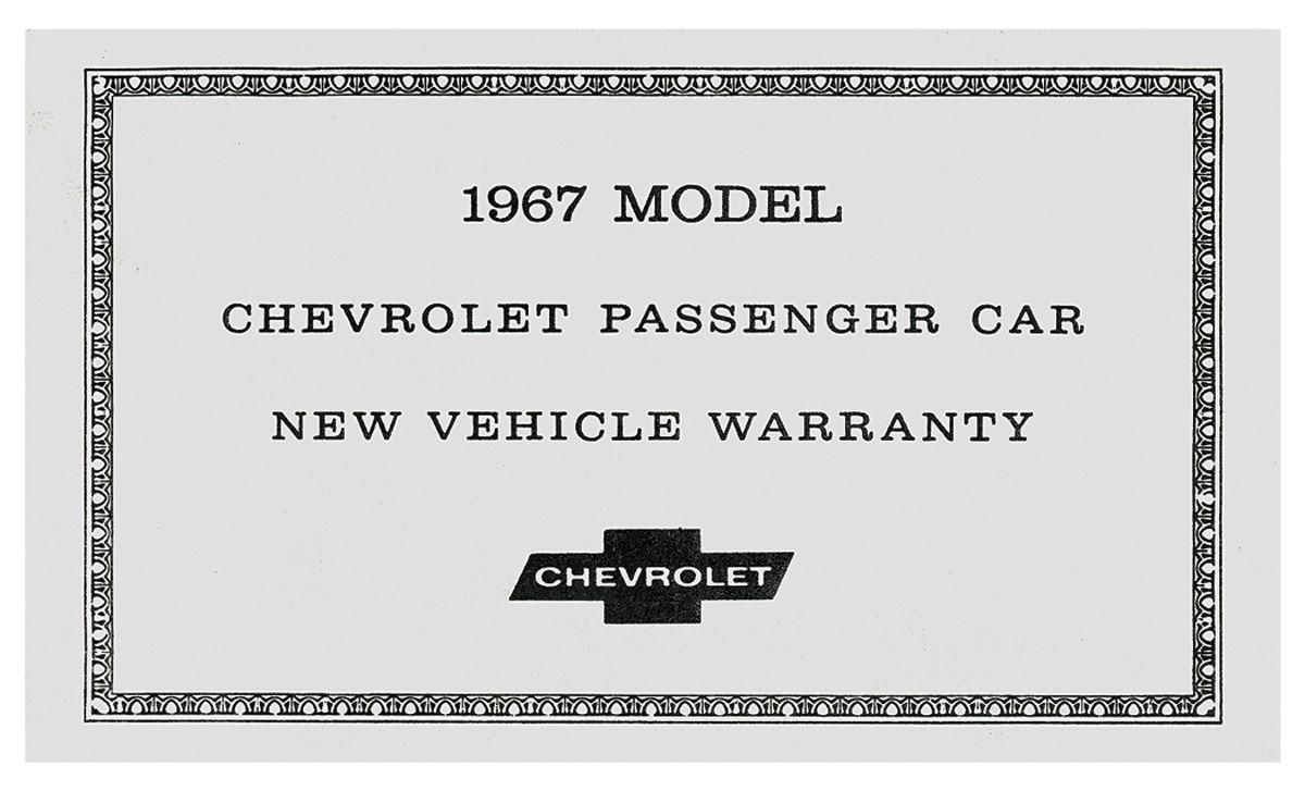 Warranty Certificate, 1967 Chevrolet