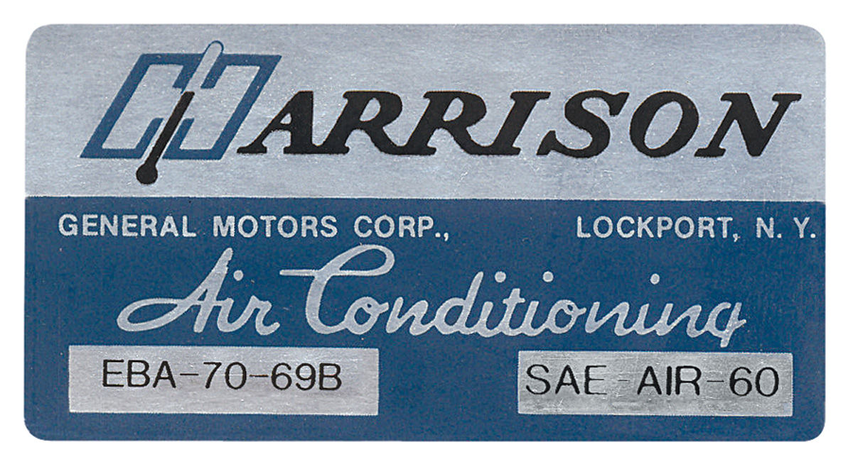 Decal, 69 GM A Body, Evaporator Box, Harrison Air Conditioning