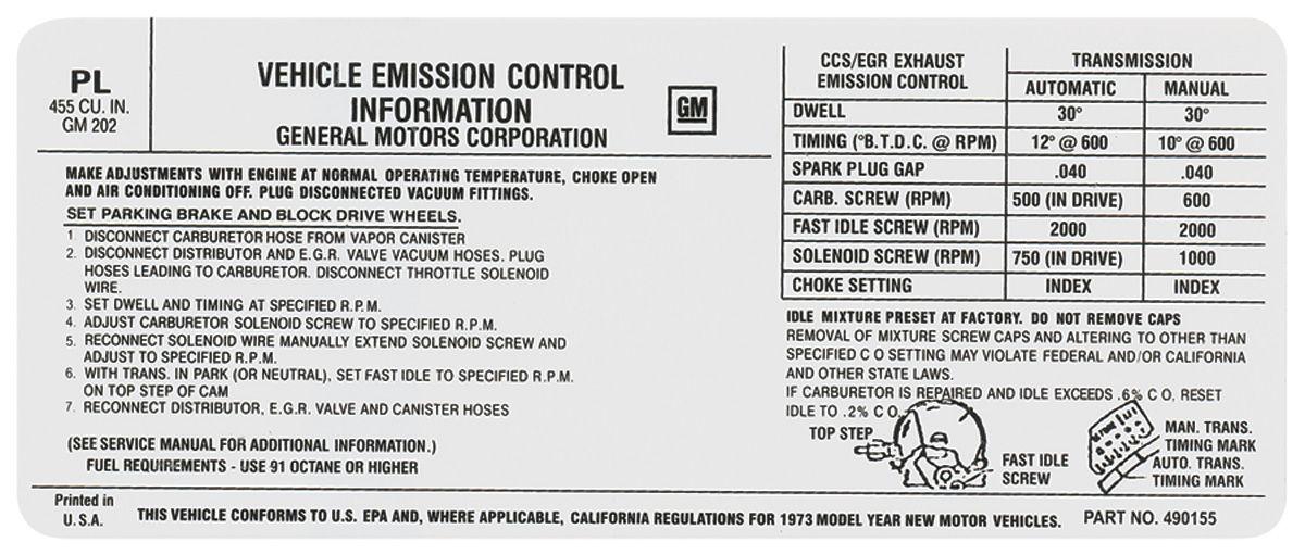 Decal, 73 Pontiac, Emissions, 455, SD, PL, 490155
