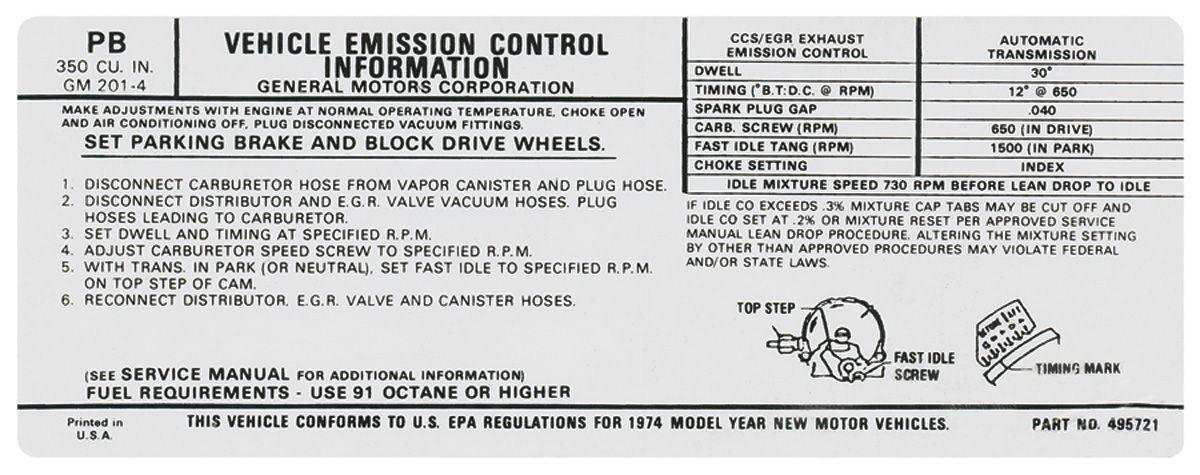 Decal, 74 Pontiac, Emissions, 350, AT, PB, 495721
