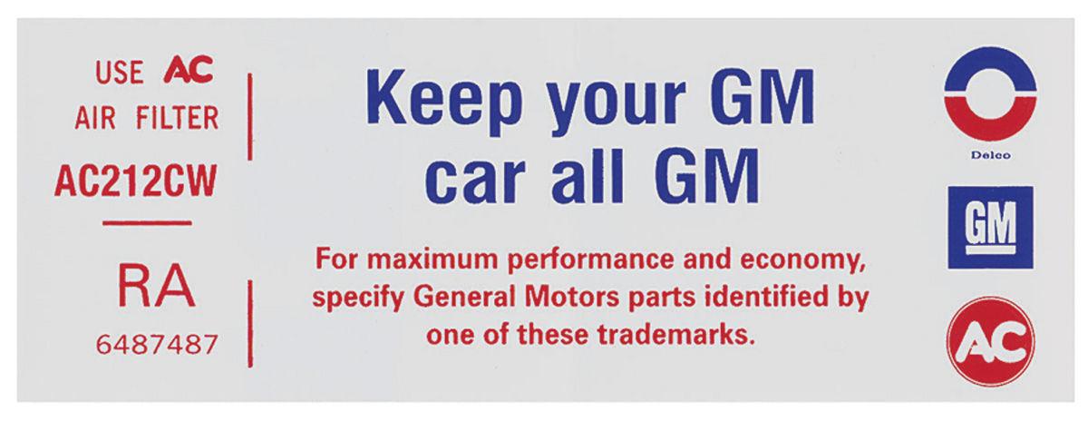 Decal, 72-73 Pontiac, Air Cleaner, V8, 4 Barrel, Keep Your GM Car All GM, RA