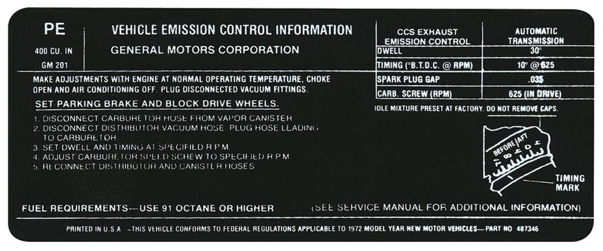 Decal, 72 Pontiac, Emissions, 400-2V, PE, 487346