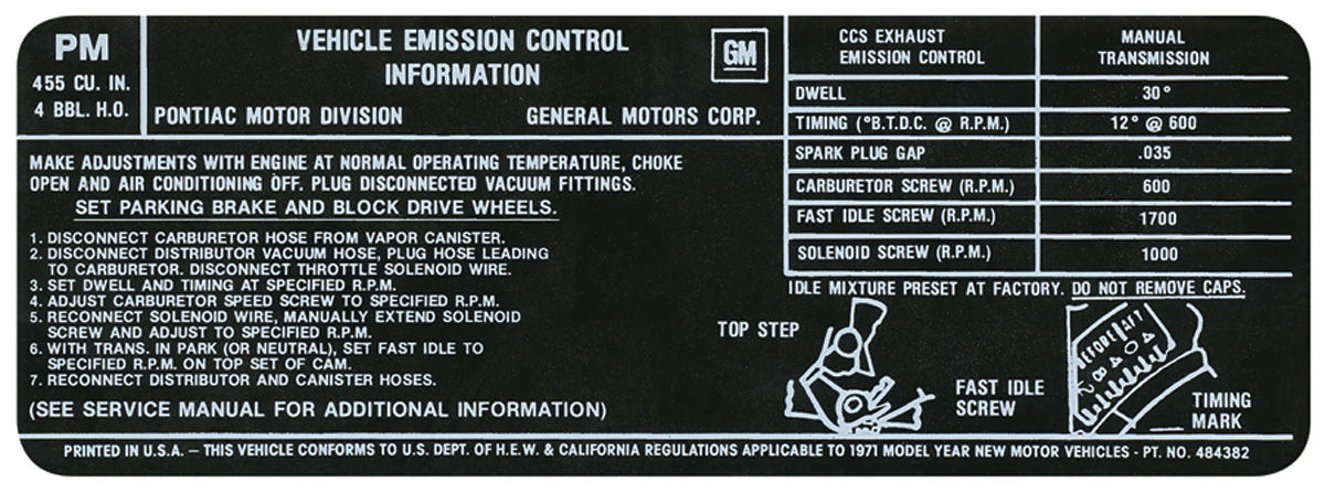 Decal, 71 Pontiac, Emissions, 455-4V, HO, MT, PM, 484382
