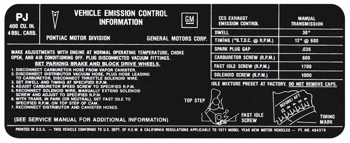 Decal, 71 Pontiac, Emissions, 400 4V, MT, PJ, 484379