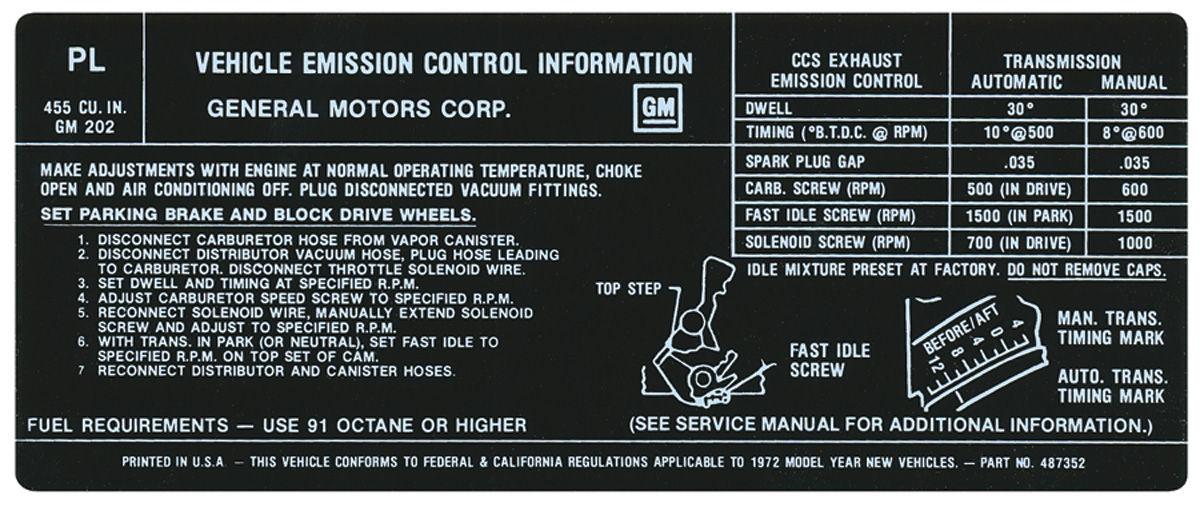 Decal, 72 Pontiac, Emissions, 455-4V, PL, 487352