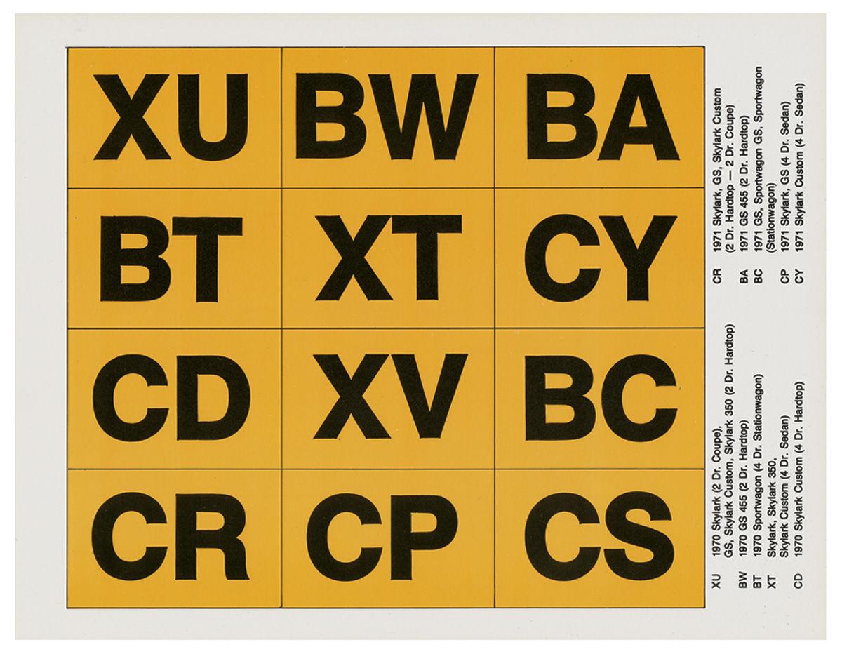 Decal Kit, Frame ID, 1970-71 Skylark