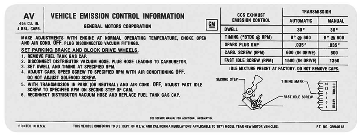 Decal, 71 Chevelle/El Camino/Monte Carlo, Emissions , 454 4V, 365HP