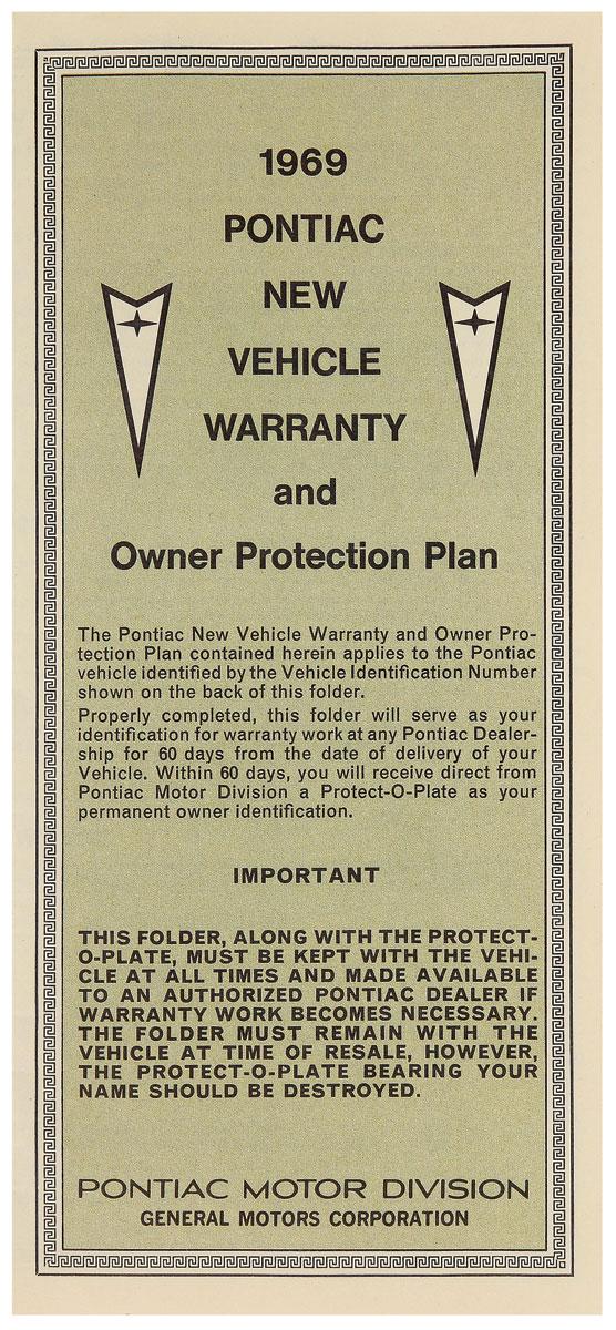 Factory Warranty Card, 1969 Pontiac
