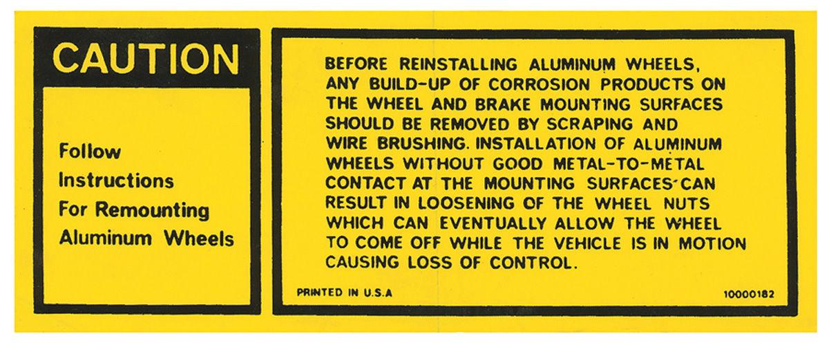 Decal, 77 Grand Prix, Aluminum Wheel Warning, #10000182